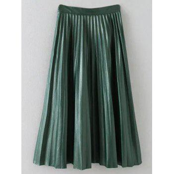 Faux Leather Pleated A Line Skirt