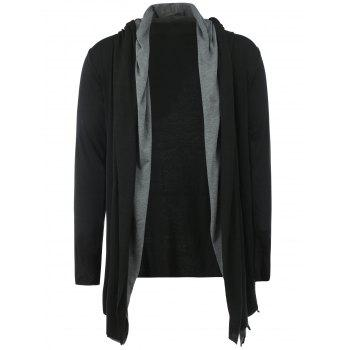 Layered Long Sleeve Open Front Hoodie