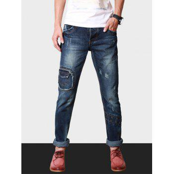 Button Fly Destroyed Jeans in Slim Fit