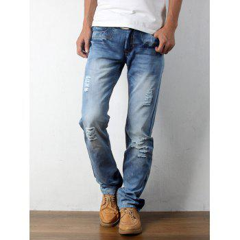 Straight Zip Fly Distressed Jeans