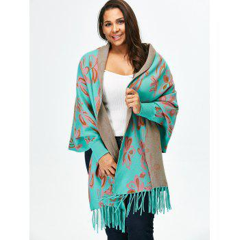 Jacquard Fringed Asymmetric Sweater Cape - TIFFANY BLUE TIFFANY BLUE
