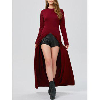 High Slit Floor Length Long Sleeve Tee