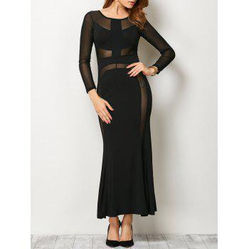 Long Sleeve Mesh Maxi Dress