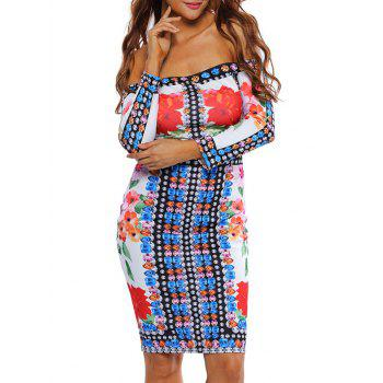 Print Long Sleeve Off The Shoulder Bodycon Dress