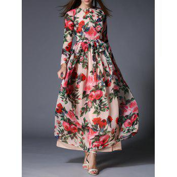 Floral Bohemian Maxi Dress with Belt