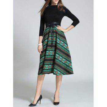 Geometrical High Waist Fit and Flare Dress