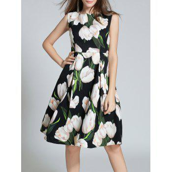 Buy Sleeveless Floral Printed Fit Flare Dress BLACK