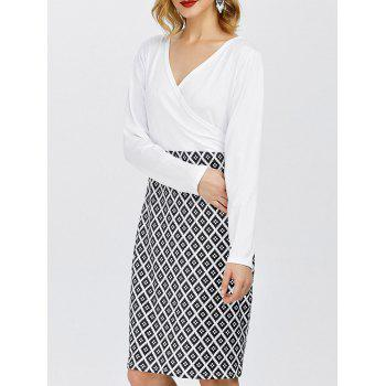 Long Sleeve Argyle Surplice Pencil Dress