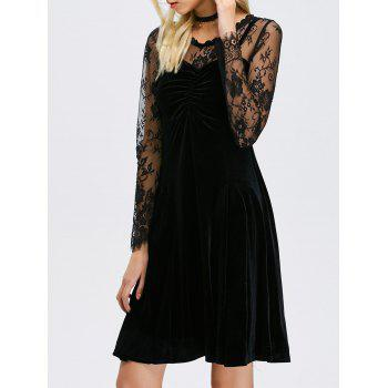 Lace Panel Velvet Sheer Long Sleeve Dress