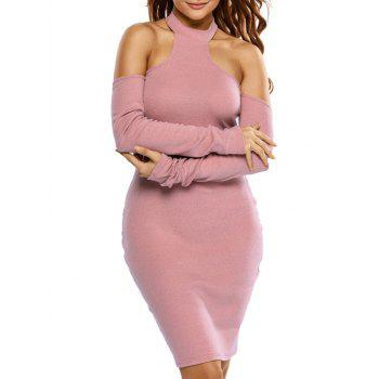 Long Sleeve Cold Shoulder Bodycon Dress