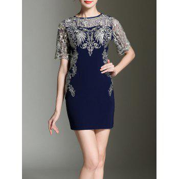 Embroidery See-Through Sheath Dress