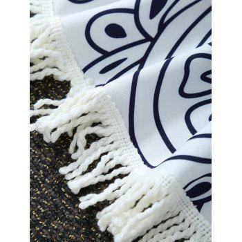 Paisley Print Round Beach Throw with Fringed Trim - WHITE WHITE