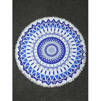 Zig Zag Round Beach Throw with Fringed Trim