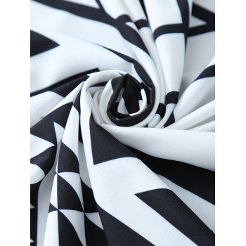 Geometry Print Round Beach Throw with Fringed Trim - WHITE/BLACK ONE SIZE