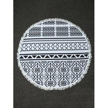 Geometry Print Round Beach Throw with Fringed Trim