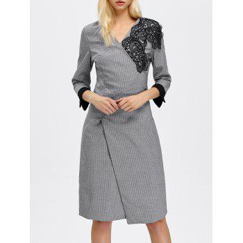 Knee Length Houndstooth Lace Panel Dress