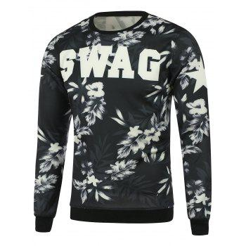 Crew Neck Plant Graphic Sweatshirt