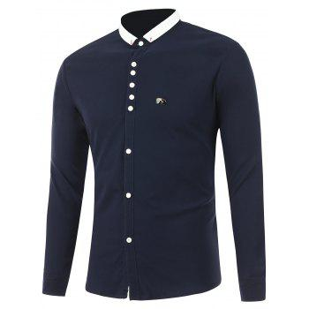 Buttoned Breastpin Contrast Collar Shirt - ROYAL L