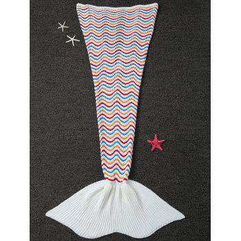 Wave Stripe Crochet Knitted Mermaid Blanket Throw For Kids - WHITE WHITE