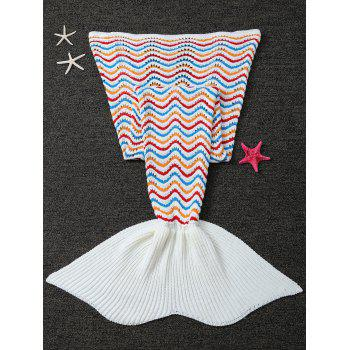 Wave Stripe Crochet Knitted Mermaid Blanket Throw For Kids -  WHITE