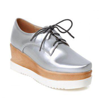 Platform Tie Up Square Toe Wedge Shoes
