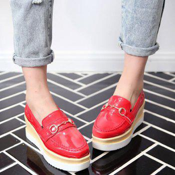 Square Toe Metal PU Leather Wedge Shoes