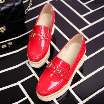Square Toe Metal PU Leather Wedge Shoes - RED RED
