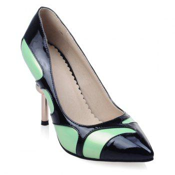 Patent Leather Colour Block Strange Heel Pumps