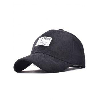 Faux Suede Fitted Baseball Cap with New York Applique