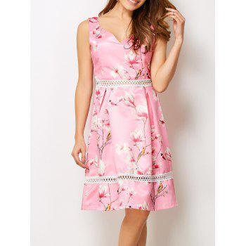 V Neck Hollow Out Floral Dress