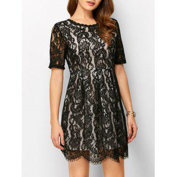 V Back Lace A Line Dress