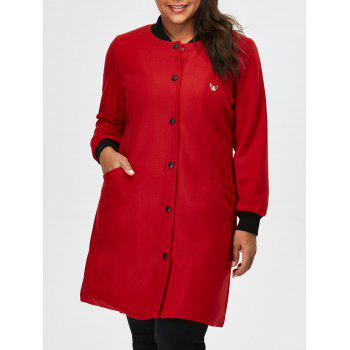 Plus Size Button Up Appliqued Coat