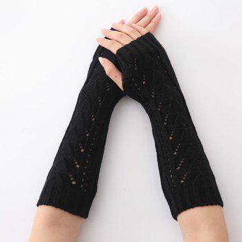 Hollow Out Crochet Knit Triangle Fingerless Arm Warmers - BLACK BLACK