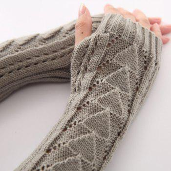 Hollow Out Crochet Knit Triangle Fingerless Arm Warmers -  BLACK
