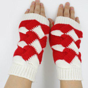 Crochet Checked Knit Triangle Fingerless Gloves - WHITE
