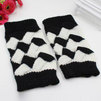 Mitaines à carreaux en crochet et tricot triangulaire - Noir