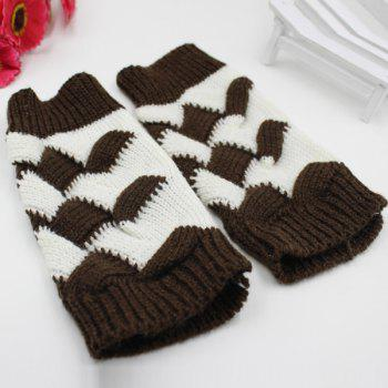 Crochet Checked Knit Triangle Fingerless Gloves - COFFEE