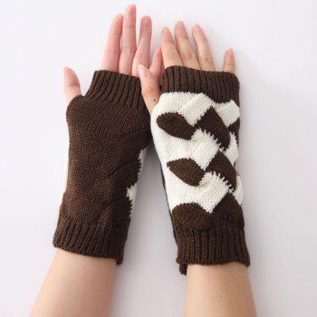 Crochet Checked Knit Triangle Fingerless Gloves - COFFEE COFFEE