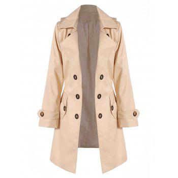 Belted Double Breasted Trench Coat with Pockets