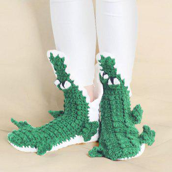 Knitted Alligator Slipper Socks - GREEN GREEN
