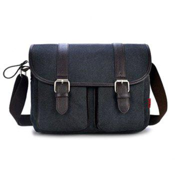 Canvas Double Buckles Messenger Bag - BLACK BLACK