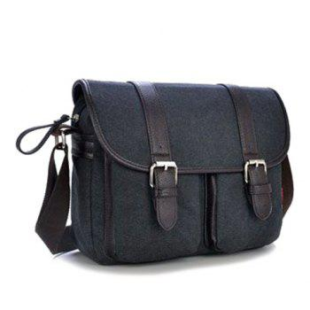 Canvas Double Buckles Messenger Bag -  BLACK