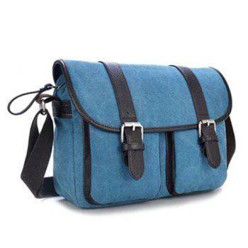 Canvas Double Buckles Messenger Bag - Bleu