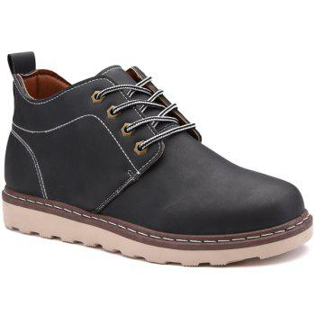 Tie Up Stitching Faux Leather Boots