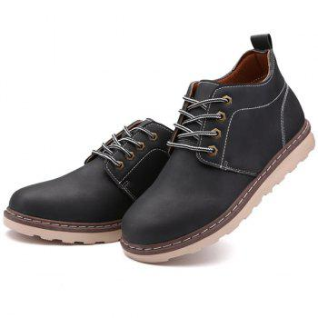 Tie Up Stitching Faux Leather Boots - BLACK BLACK