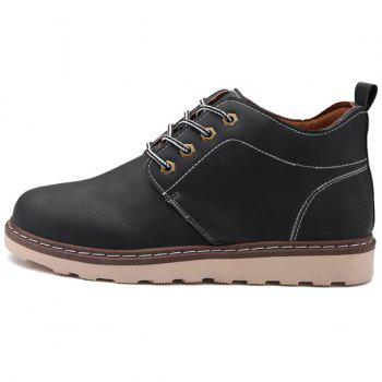 Tie Up Stitching Faux Leather Boots - BLACK 40