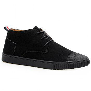 Suede Tie Up High Top Casual Shoes