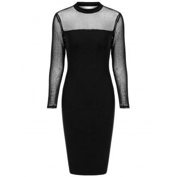 Mock Neck Mesh Semi Sheer Tight Dress
