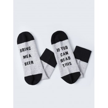 Pair of Letter Graphic Contrast Socks - BLACK