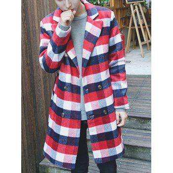 Double Breasted Lapel Checked Coat
